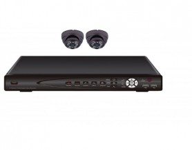 دی وی آر 4 کانال به همراه 2 عدد دوربین دام+آدابتور 2 آمپر